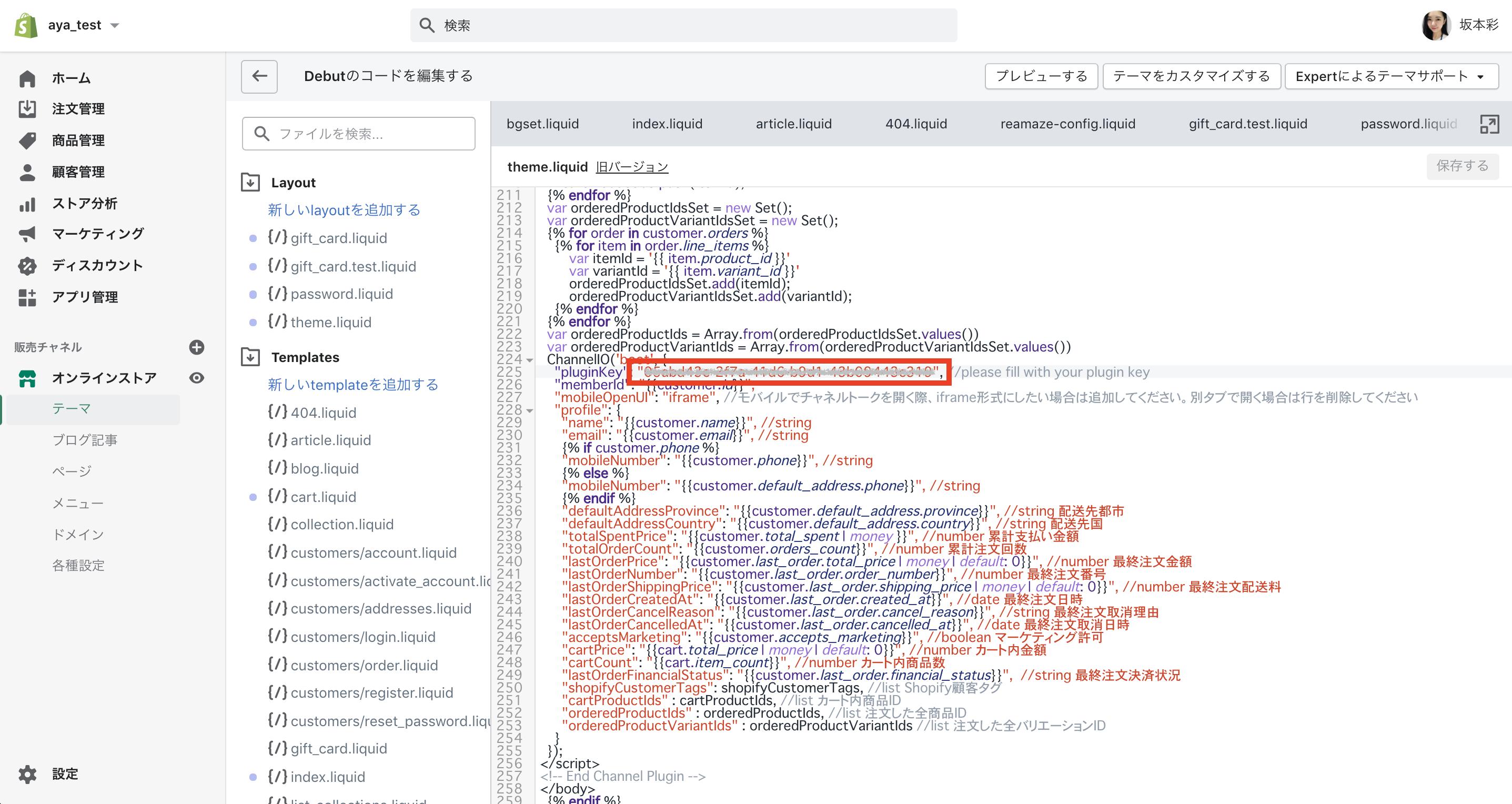 YOUR_PLUGIN_KEYの箇所を見つけて、Plugin Keyをペーストします!